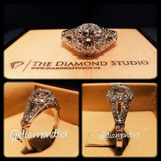 My latest halo design features a 1.00ct round cut diamond on a tight round v-cut halo. The fork style shank also has diamonds in a v-cut setting. The diamonds are intercepted by the client's initial on one side, and his girlfriend's initial on the other. #diamond #diamonds #wedding #weddings #engagementring #ring #rings #bride #brides #jewellery #jewelry #halo #thediamondstudio