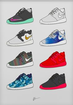Roshe Run Collection is part of Sneaker art By Kick PostersNike& Roshe One is one of their most popular models This print features a select few of the Roshe One& iconic colorways - Sneakers Wallpaper, Shoes Wallpaper, Chris Brown Art, Sneakers Sketch, Dope Cartoon Art, Streetwear, Minimalist Bag, Sneaker Art, Sneaker Magazine
