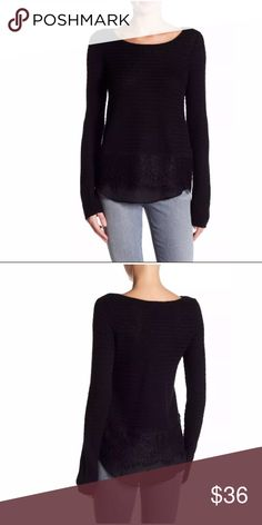 Lucky Brand Knit Lace Sweater Large NWT Black - Boatneck - Long sleeves - Slips on over head - Knit construction - Allover textured pattern - Lace hem - Inset crepe hem underlay  Fiber Content Shell: 52% cotton, 41% rayon, 7% nylon Trim: 100% nylon Lining: 100% polyester Lucky Brand Sweaters