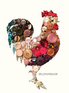 9x12 Button Art Housewarming Rooster Kitchen por BellePapiers