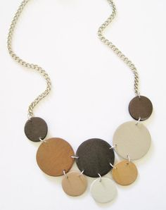 Modern geometric wooden necklace in dark and light by dibimi, $32.00