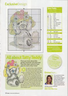 Free Tatty Teddy bear in cross stitch -Past Impressions