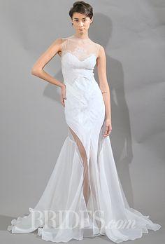 Brides.com: . Trend: Cutouts. Sleeveless chiffon mermaid wedding dress with an illusion high-neckline and sheer cutout details on the skirt, Christos Costarellos