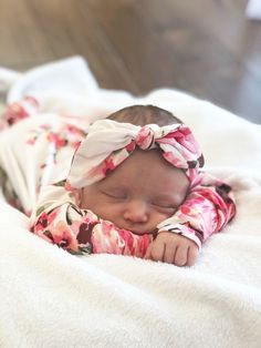 Pink Botanical Soft Modal or French Terry Newborn Baby Knotted Gown 2-Piece Set Made in USA