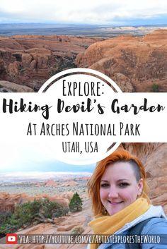 Hiking Devil's Garden at Arches National Park, Utah, USA