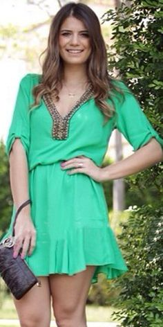 Fashion V-neck Half Sleeve Gathered Waist Chiffon Dress