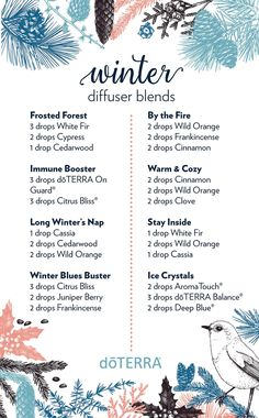 8 diffuser blends to diffuse during wintertime