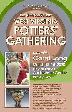 Cedar Lake, 40th Anniversary, West Virginia, Arts And Crafts, Pottery, Ceramica, Pottery Marks, Art And Craft, Crafting