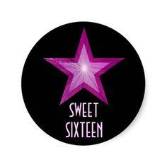 Pink Star 'Sweet Sixteen' round sticker black