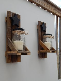 Mason Jar Candle Holder Wall Sconce With Shelf and Star. Made With Reclaimed…