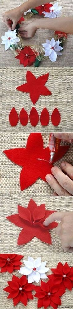 In this DIY tutorial, we will show you how to make Christmas decorations for your home. The video consists of 23 Christmas craft ideas. Felt Christmas Ornaments, Christmas Art, Christmas Holidays, Christmas Wreaths, Christmas Poinsettia, Felt Crafts, Holiday Crafts, Diy And Crafts, Felt Flowers