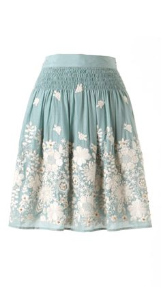 Mint embroidered skirt