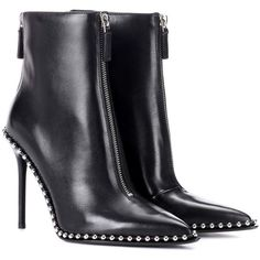 Alexander Wang Embellished Leather Ankle Boots ($1,170) ❤ liked on Polyvore featuring shoes, boots, ankle booties, black, ankle boots, black booties, black leather bootie, leather booties and leather bootie