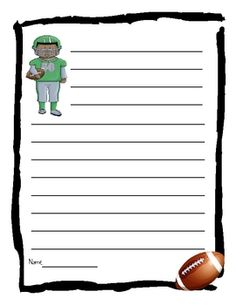 Football Lined Writing Paper