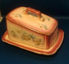 Antique 19th C English Porcelain Cheese Tray Cover Keeper Butter Dish Plate