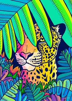 Leopard in the jungle Art Print by Steve Wade (Swadeillustrations) - X-Small Tableau Pop Art, Jungle Art, Arte Pop, Art Inspo, Abstract Art, Canvas Art, Illustration Art, Digital Art, Art Prints