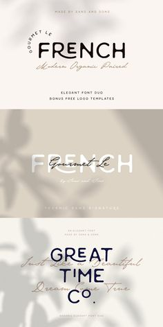 "introducing our new ""Gourmet Le French"" font duo with Modern Elegant Style this is perfect for branding, logos, invitation, masterheads and French Typography, Retro Typography, Typography Poster Design, Japanese Typography, Creative Typography, Number Typography, Lettering, French Font, Poster Design Layout"