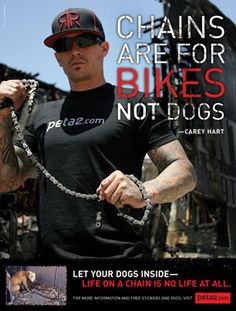 "Carey Hart - motocross champ - has a cool motto ""Chains are for Bikes. Not dogs."""