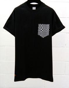 Men's Illusion Pattern Black Pocket TShirt Men's by HeartLabelTees, Going Out Shirts, Tartan Pattern, Colorful Shirts, Custom Made, Street Wear, Illusion, Short Sleeve Dresses, Menswear, Youtube Logo