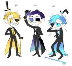 Bill Cipher, Tad Strange, Will Cipher (tad is also known as floppy disk) Anime Gravity Falls, Reverse Gravity Falls, Gravity Falls Fan Art, Gravity Falls Bill Cipher, Gravity Falls Comics, Reverse Falls, Billdip, Bill Cipher Human, Monster Falls