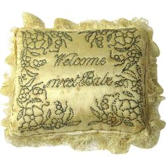 """c.1800 Regency era Special Layette Pincushion,""""Welcome Sweet Babe"""" Given as gifts to the new mother."""