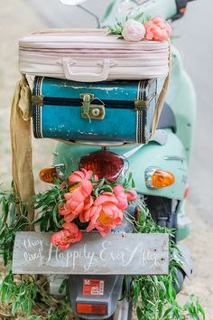 Mint Green Vespa - too cute! Peony First look editorial by Kimbry Studios