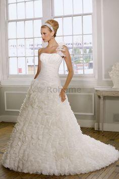 Robe de mariée en chute de lotus de bustier fourreaux plissés avec sans manches