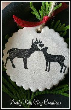 Clay Gift Tag -  Buck Reindeer in Wreath