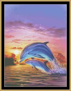 Sunset Dolphin [MGL-26] - $16.00 : Mystic Stitch Inc, The fine art of counted cross stitch patterns