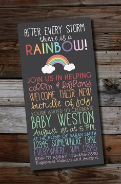 Rainbow baby. After a loss. Miscarriage. This rainbow baby shower invitation features classic pastel colors celebrating your upcoming bundle of joy. #designsbyalila