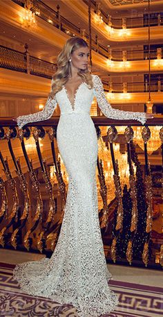 Glamorous long sleeve full lace mermaid wedding dress, do you love this one? 2016 newest style. www.27dress.com