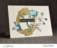 Stunning gold frame die cut adorns this handmade card. Products from Altenew were used such as the Sweet Friend Stamp & Die, Botanical Garden Stamp Set, Wild Hibiscus Stamp Set, and Thinking of You Stamp Set. www.altenew.com