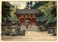 hanga gallery . . . torii gallery: Puerta de oro por Hiroshi Yoshida. 1941