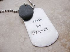 Military quote steel dog tag necklace with genuine by Lolasjewels, $13.00