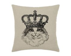 Items similar to Cat Queen Crown Cat Kitty Pet Animal Art Print - print on natural linen canvas - decorative pillow cover on Etsy Cat Lover Gifts, Cat Lovers, Hipster Cat, Cat Pillow, Kings Crown, Animal Fashion, Cat Shirts, Decorative Pillow Covers, Cats And Kittens