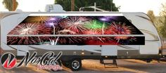 Custom fireworks RV awning makes for a great look. Small Business Solutions, Fireworks, Rv, Community, Motorhome, Caravan Van