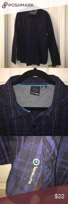 Mens BURNSIDE blue black button down shirt Sz 2 XL Mens button down shirt made by BURNSIDE❤sz 2Xl❤zipper pocket above pocket❤Good used condition💕❤️💕Happy poshing my friends💕❤️💕 Burnside Shirts Casual Button Down Shirts