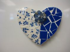 Vintage China Mosaic Heart Shaped Magnet  Broken China by thooker, $12.00