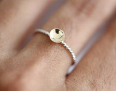 Tiny Wel - 14k solid gold disc on silver band, stacking ring. Minimalist ring