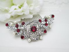 Bridal Hair Comb Ruby Hair Comb Ivory Pearl by SparklyAvenue