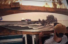 Progress shot of the view over Snapper Rocks and Coolangatta Beach I'm working on it's coming together really nicely!  #surfart #surfboardart #posca #snapperrocks #surf #surfing #stippling #queensland #australia #beach #illustration #nawden #art_spotlight #arts_help #art_collective #recycledart #landscape #fineart #waves #jsindustries #surfboard by jarryndower