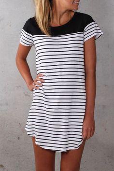 Stitch fix spring summer 2016. Black and white stripe dress.