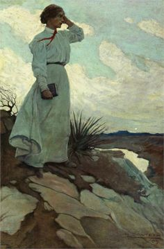 """""""Louise Loved to Climb to the Summit on one of the Barren Hills Flanking the River and Stand there while the Wind Blew"""" - Illustration (oil on canvas) by Newell Convers Wyeth (American, Realism, - Private collection Art And Illustration, Book Illustrations, Jamie Wyeth, Andrew Wyeth, Painting Gallery, Art Gallery, Nc Wyeth, Illustrator, Le Far West"""