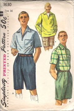 Vintage 1956 Simplicity 1630 Men's Bermuda Walking Shorts & Shirt Sewing Pattern Size 36 Chest 40""