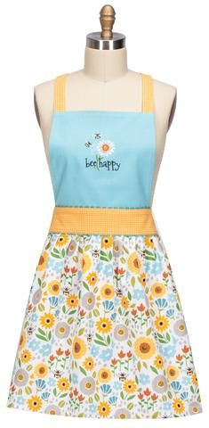 This pretty and cute Garden Bee kitchen women's Apron features a yellow waistband, shoulder straps and gathered skirt with a bright floral pattern. Blue bib bodice with a bee and flower embroidered pa