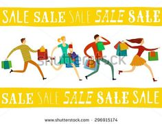 Running hurry young people with shopping bags cartoon illustration.Sale theme for your design - stock vector
