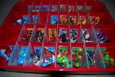 Skylander Organization 1 using an ornament storage box