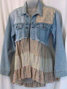 embellished denim jacket jean jacket bohemian by LamaLuz on Etsy (Diy Clothes Makeover) Sewing Clothes, Diy Clothes, Clothes Refashion, Jeans Refashion, Refashioned Clothes, Diy Jeans, Recycle Jeans, Mode Hippie, Diy Vetement