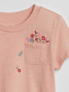 Shop Gap's Toddler Graphic Pocket Short Sleeve T-Shirt: Soft jersey knit.,Embroidered graphic at patch pocket. Embroidery On Clothes, Shirt Embroidery, Embroidered Clothes, Embroidery Motifs, Hand Embroidery Designs, Baby Kids Clothes, Diy Clothes, Broderie Simple, Shorts With Pockets
