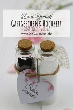 DIY - Gastgeschenk Poivre et sel pour le mariage, faites-le vous-même + template gratuit - DIY Hochzeit / Geschenkideen / Dekoration - Diy Wedding Shoes, Diy Wedding Gifts, Diy Gifts, Diy Party, Party Favors, Party Ideas, Diy Cadeau, Holiday Break, Guest Gifts